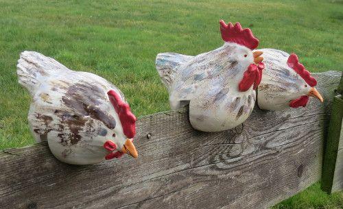 #-neuer Gartentraum- Keramik-Hühner, Zaunhocker