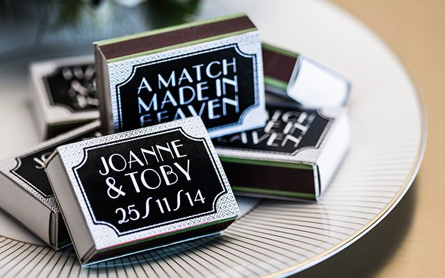 Spark some personality in to your bomboniere with these personalised matches.