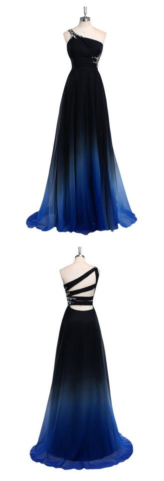 One Shoulder Sexy Prom Dress,Dark Blue Prom Dresses