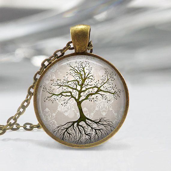 Boom met de wortels hanger tegenhanger van de kunst van de boom, boom ketting, boom hanger, Bronze, Silver, Art Jewelry Boom, boom Art ketting 014
