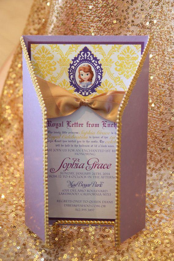 Sophia The First inspired birthday Royal Celebration Invitation on Etsy, $120.00