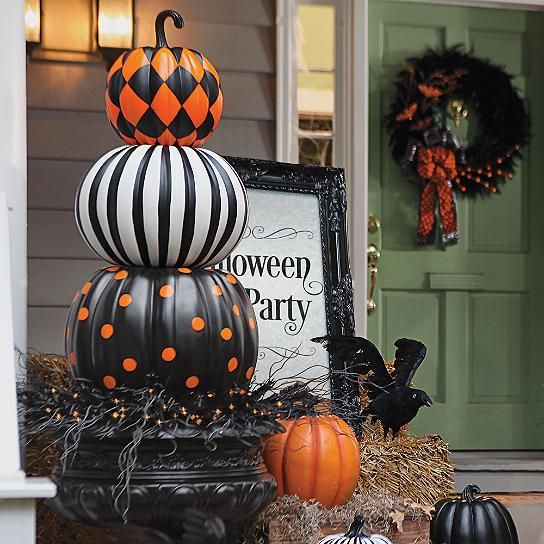 Halloween Stacked Patterned Pumpkins