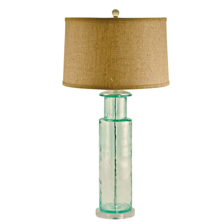 Recycled Glass Cylindrical Table Lamp In Green 248