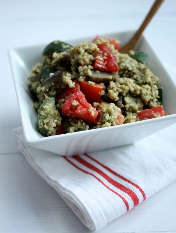 Delicious, #vegan millet pesto summer grain salad