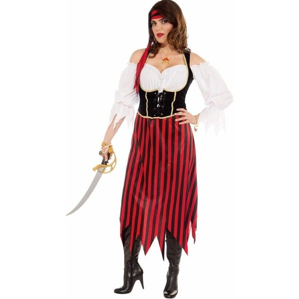 Womens Pirate Maiden Plus Size Costume ($36) ❤ liked on Polyvore featuring costumes, halloween costumes, pirate wench costume, lady pirate costume, womens pirate wench costume, womens snow white costume and plus size ladies halloween costumes