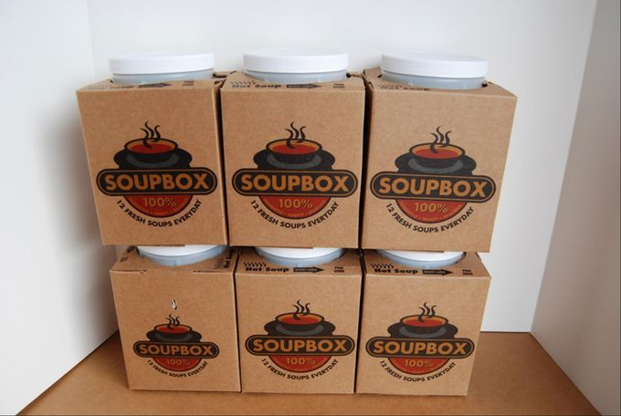 "Development and production of a unique new ""Soupbox Gallon"" to go and shipping container"