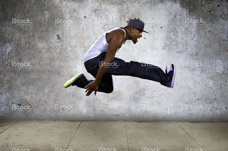 Urban Black Man Jumping High