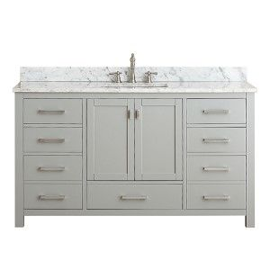 Modero Chilled Gray 36 Inch Vanity Combo With White Carrera Marble Top Vanities Bathroom