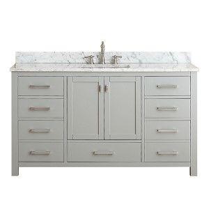 Modero Chilled Gray 36 Inch Vanity Combo With White Carrera Marble Top Vanities Bathroom