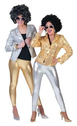 Glimmende gouden legging voor dames. Goudkleurige glitter legging voor dames. One size, ongeveer maat M/L.