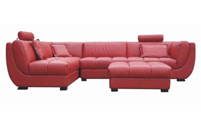 Calgary Red Leather Sectional | red leather furniture | discount furniture red