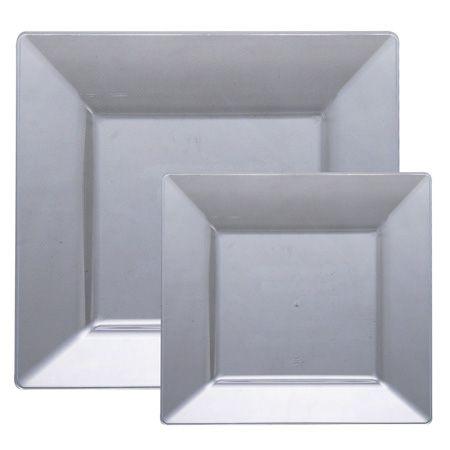 Square Silver Plastic Dinnerware Value Pack