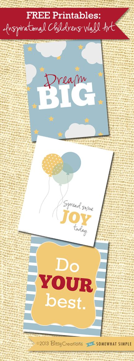 Free Children's Inspirational Printables by BitsyCreations for Somewhat Simple