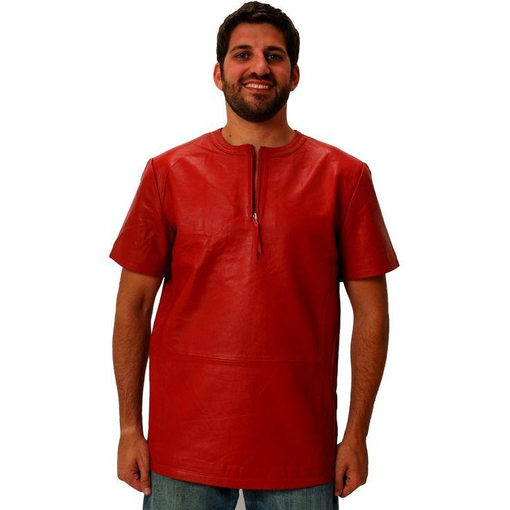 Mens Leather Shirt Red Crew Tee 1/4 zip up & waist zippers Nappa Sheepskin