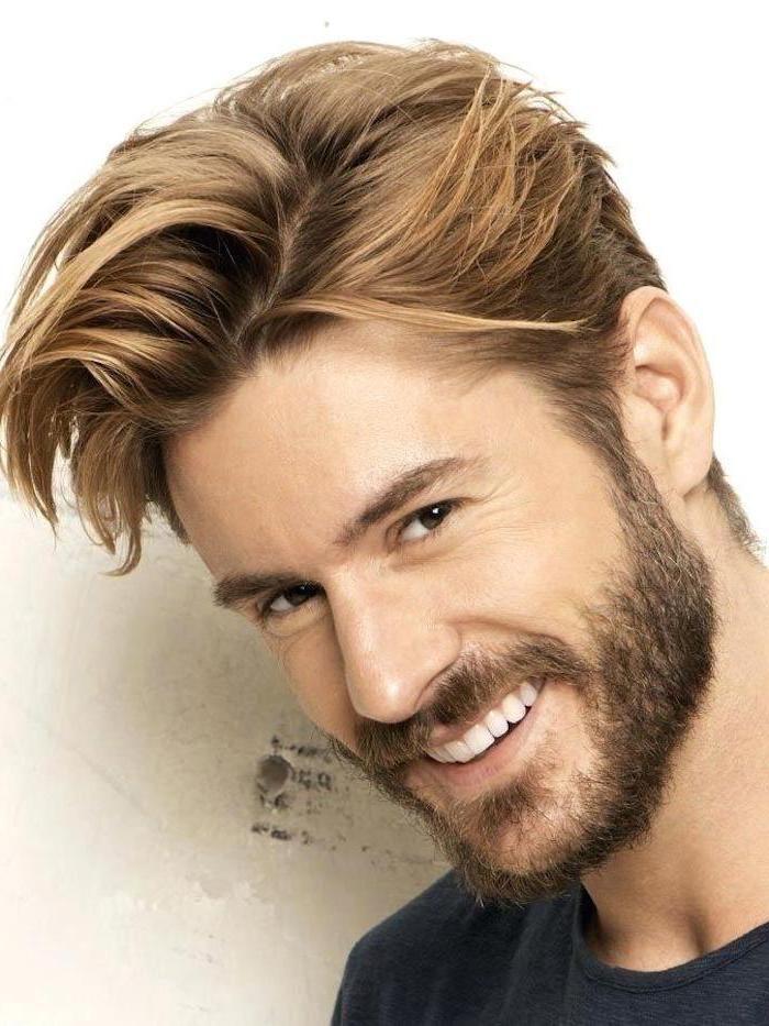 Man Smiling Black Shirt Medium Length Hairstyles For Men Blonde Hair Mens Hairstyles Haircuts For Men Men Blonde Hair