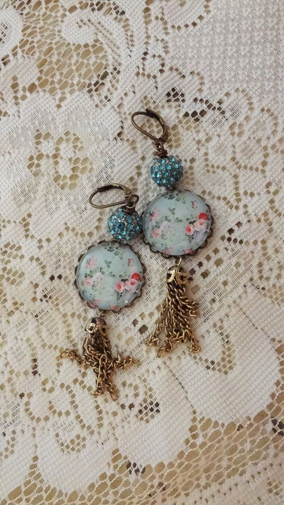 Shabby Chic Floral Cameo Earrings by BerthaLouiseDesigns on Etsy