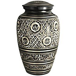 Funeral Urn by Meilinxu - Cremation Urn for Dogs - Hand Made in Brass - Hand Engraved - Large Cremation Urns for Adults Burial or Animal Urns (Rings of Love Urn