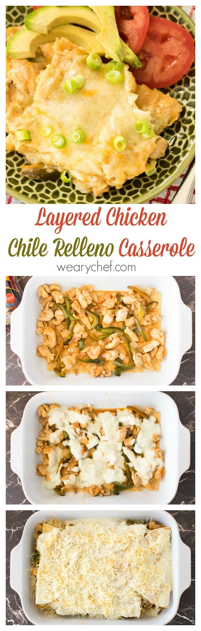 This layered chile relleno casserole is the definition of comfort food. Plus, it's gluten free! (Chicken Chili Relleno)