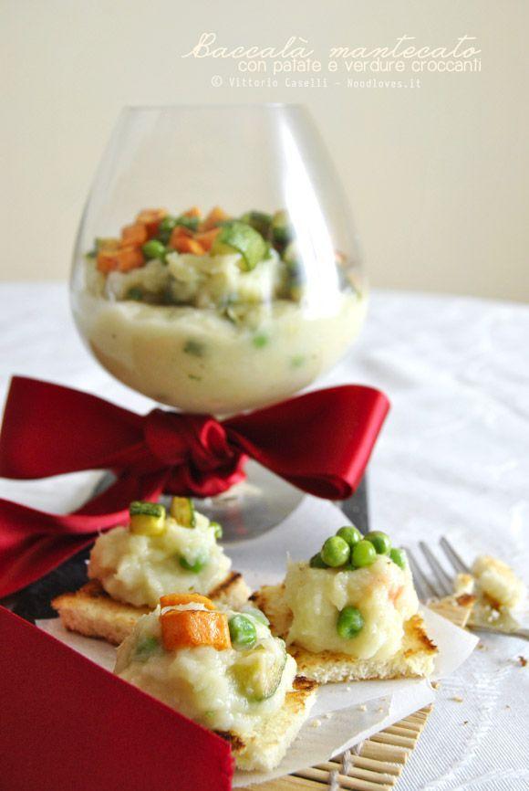 Baccalà mantecato con patate e verdure croccanti