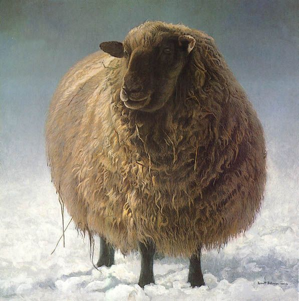 Art Country Canada -ROBERT BATEMAN Salt Spring Sheep Offset limited edition print