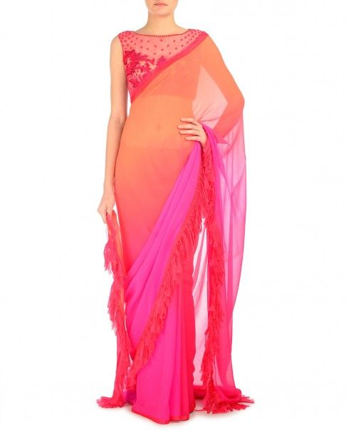 Fuchsia Ceramic Fringed Saree
