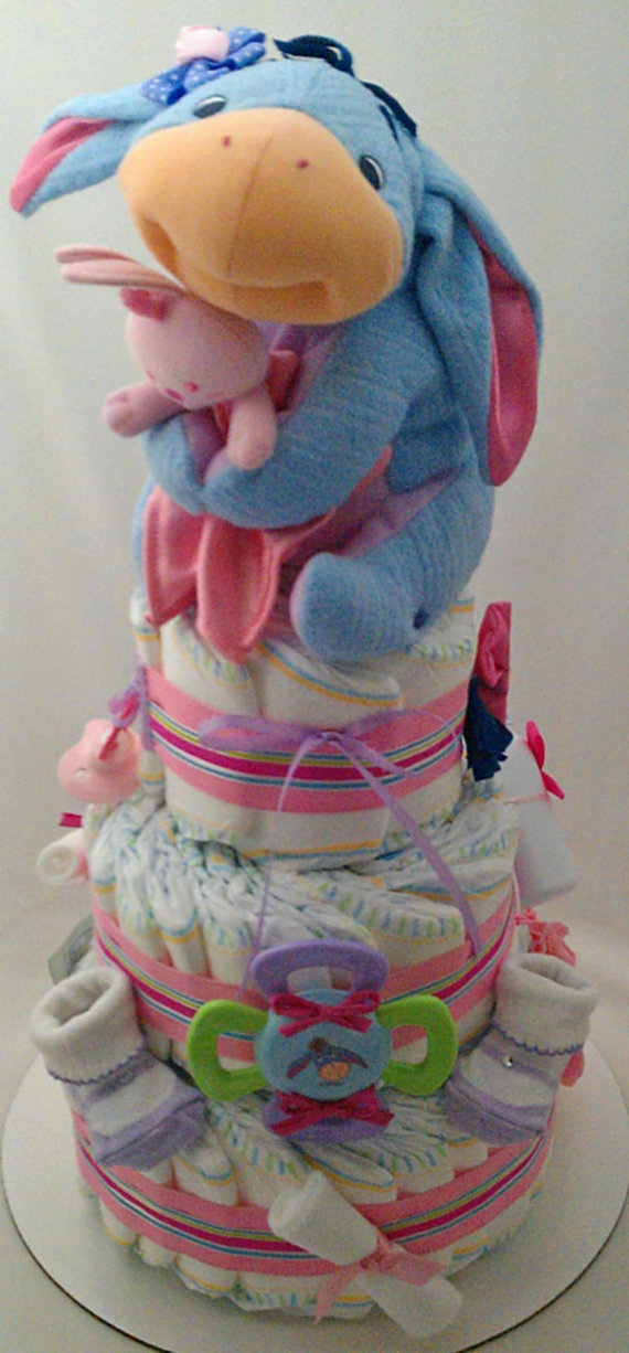 °•°•✿•° Eeyore 3 Tiered Diaper Cake °•°•✿•°    Great decorative piece! Would make a wonderful Gift for the Mommy-to-be! Perfect for a Baby Shower, as a Center Piece or Welcome Home Baby! Ready to ship!