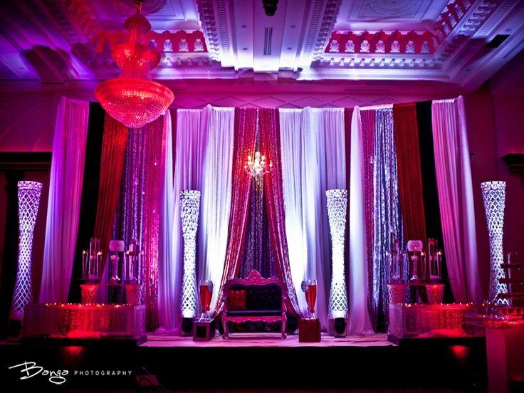 gorgeous red, pink and purple mandap design - indian desi wedding stage decorations by diya decor (diyadecor.com)