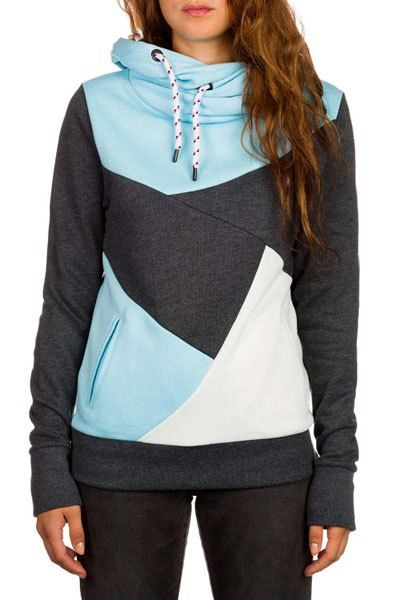 Chic Hooded Long Sleeve Color Block Pocket Design Hoodie For Women