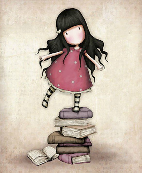 "I libri portano equilibrio nelle menti sempre in bilico... #books #sweet #cute #gorjuss #santoro #libri #reading  ""Gorjuss"" series of illustrations by Suzanne Woolcott."