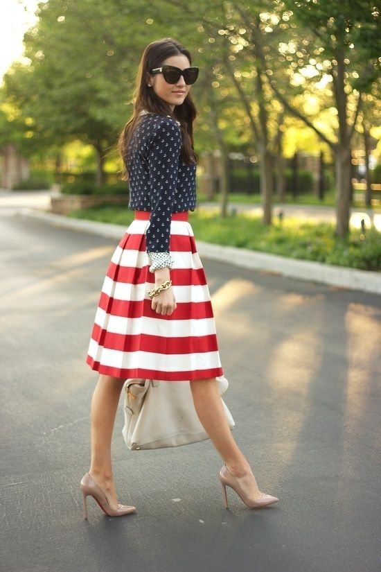 Navy polka dot blazer/ red  white striped midi skirt (perfect 4th of July look)