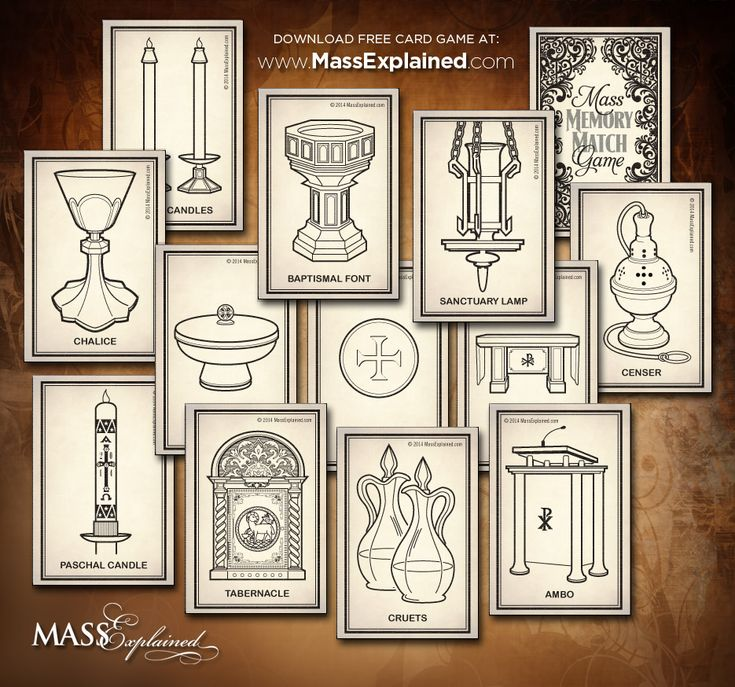Here is a great Catholic Memory Card Game I created to help teach your little ones the names of the objects used at Mass. Download for free here: http://www.massexplained.com/kids-mass-crafts-3/
