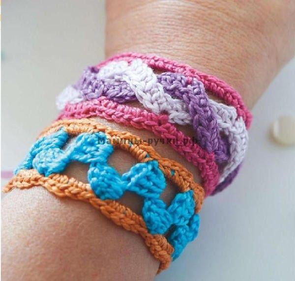 Яркие браслеты вязаные крючком (bright bracelets crochet)