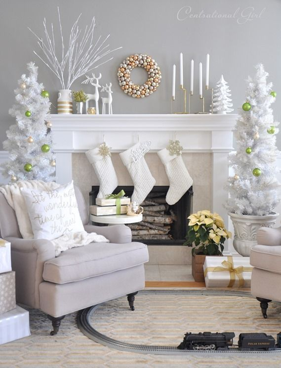 LOVING this Metallic & White Christmas Mantel @Centsational Blog Blog Girl