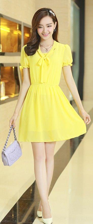 Gathered Waist Short Sleeve Chiffon Dress YRB0504 -  £13.40