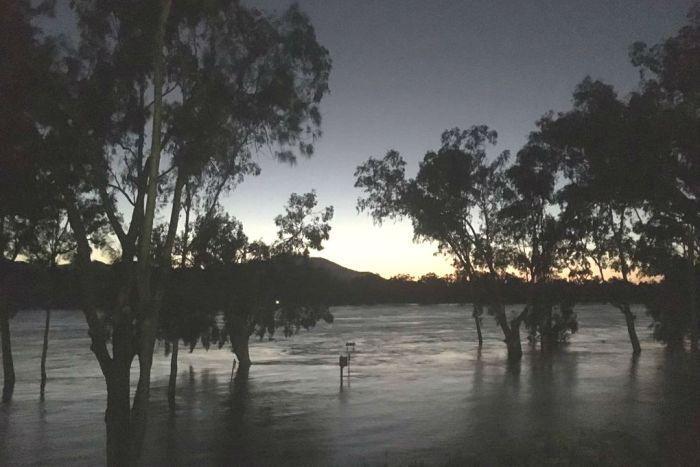 Fitzroy river in Rockhampton flooded