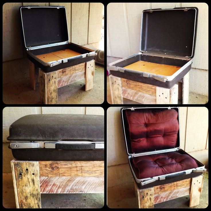 Old suitcase repurposed into chair