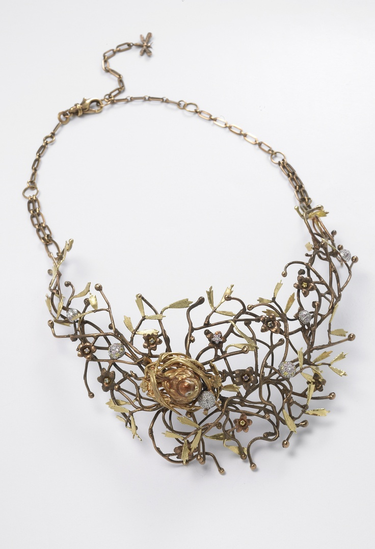 Nest Necklace  Burnished silver, enamel and diamonds