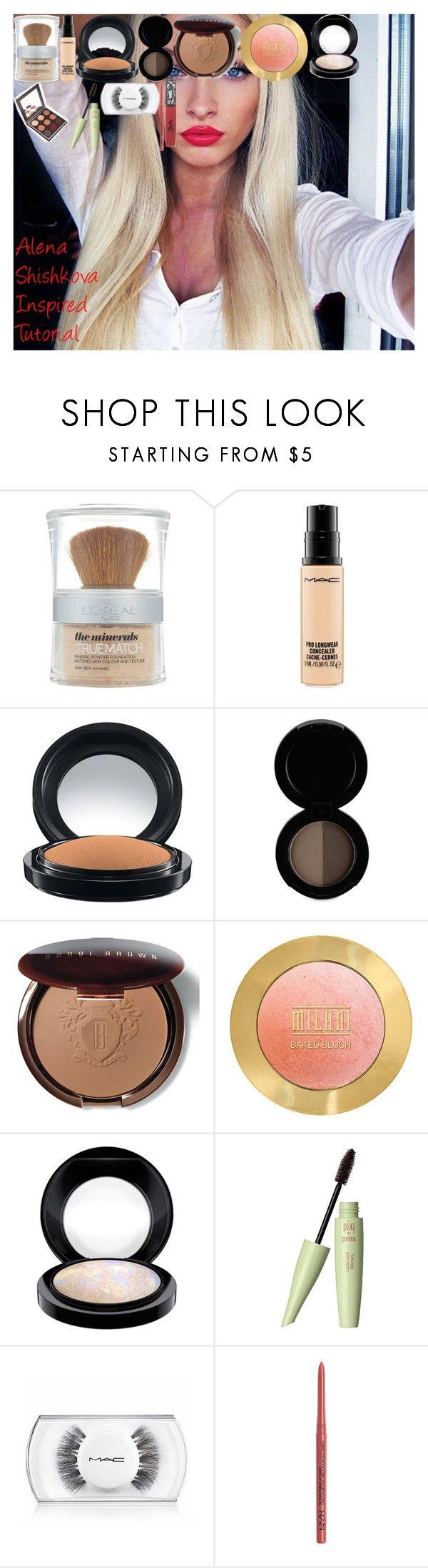 Alena Shishkova Inspired Tutorial by oroartye-1 on Polyvore featuring beauty, Bobbi Brown Cosmetics, MAC Cosmetics, Pixi, L'Oréal Paris, Sigma, The Lip Bar, NYX and 48