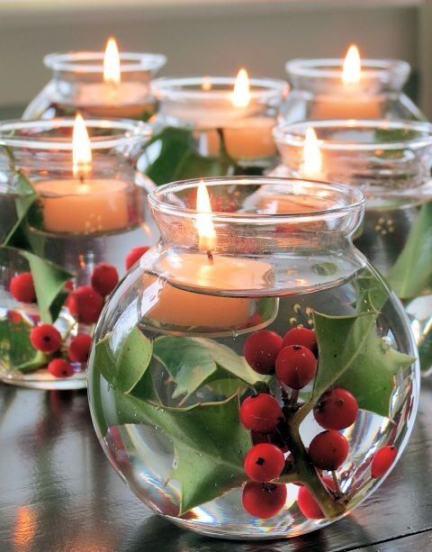 Create a simple centerpiece with holly in a little vase. Full with water and add an tea light.