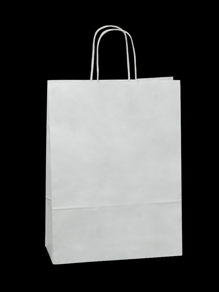White Carrier Bag Twisted Handle - Plain White