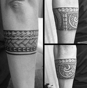Cool Tribal Forearm Armband Male Polynesian Tattoo Designs