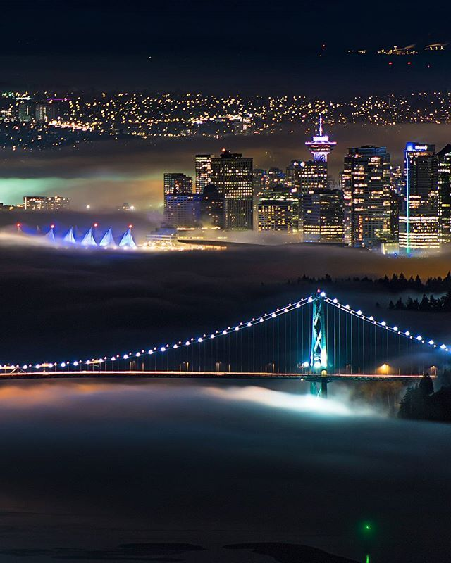 LuminoCity  . Sunday night's fog creeps into Vancouver and soaks up the colours of the city. The Lions Gate Bridge crosses the First Narrows and disappears into Stanley Park at Prospect Point. Captured from West Vancouver British Columbia Canada  January 14 2018  . Click the LINK in my bio to see this photo in it's entirety on my Facebook page  . . . . . #Fogcouver #LionsGateBridge #Vancouver @Vancouver_Canada #VeryVancouver #VisitaVancouver #CuriocityVan #VancityFeature #Photos604 #604Now…