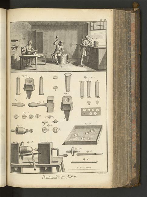 L'encyclopédie ou dictionnaire raisonné des sciences, des arts et des métiers sous la direction de Diderot et d'Alembert, tome 2 / page 198, boutonnier, en métal planche 3; boutique d'un boutonnier, outils, moule à bouton, boutons