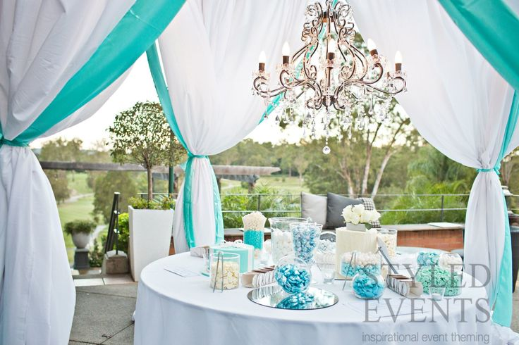 TIFFANY BLUE LOLLY BUFFET Styled Events at Hillstone St Lucia [Kwintowski Photography] #styledevents #brisbaneevents #tiffanyblue #alfrescosetting #lollybuffet