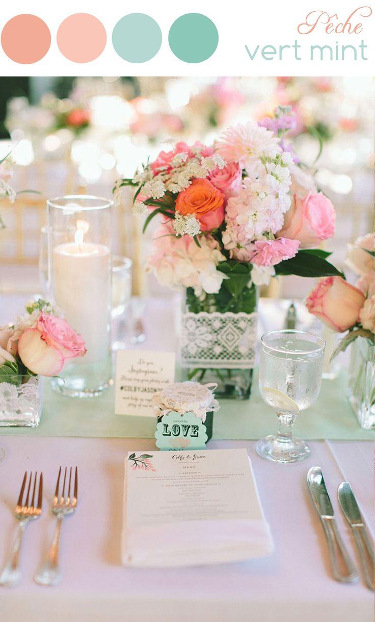 A découvrir sur notre blog : une page tendance et des idées de décoration de mariage dans les tons pastel : couleurs pêche et vert.