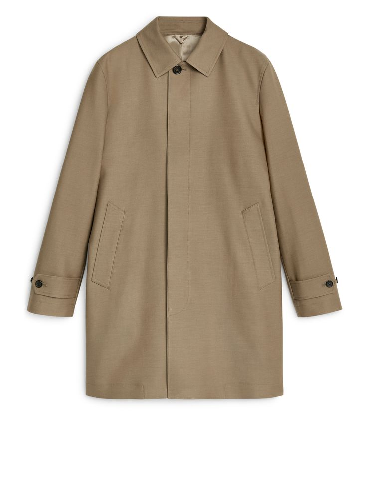 Cotton Wool Topcoat - Dark Beige - Jackets & Coats - ARKET SE