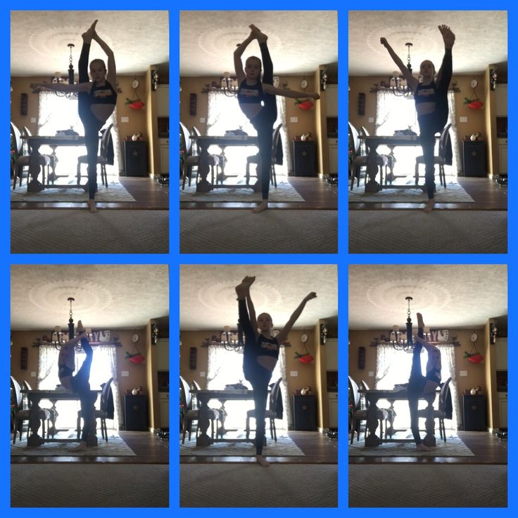 Cheer goals. Heal stretch, bow, and needle on both legs. Sorry for the bad quality photos--- taken from a video