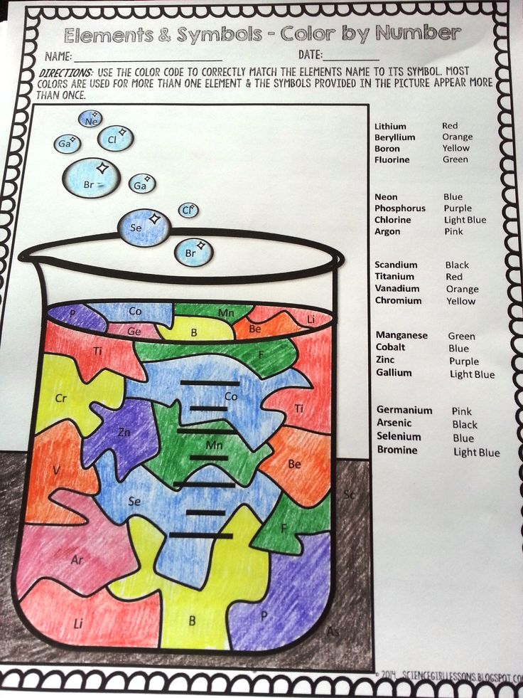 """Put a fun twist on learning chemical symbols with this """"color by chemical symbols"""" activity! Use it as a fun way to practice matching 20 chemical elements with their symbols, or as a quiz! It's a great way for students to practice learning their chemical symbols.  Students will use a color-coded key to match each element symbol to its name. They will locate each symbol, however many times it appears in the puzzle, and color it according to the key. ($) #science #TpT #elements…"""