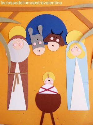 Nativity. Like the shape of Josephs head & beard. Could easily translate that idea into a cute santa ornament .