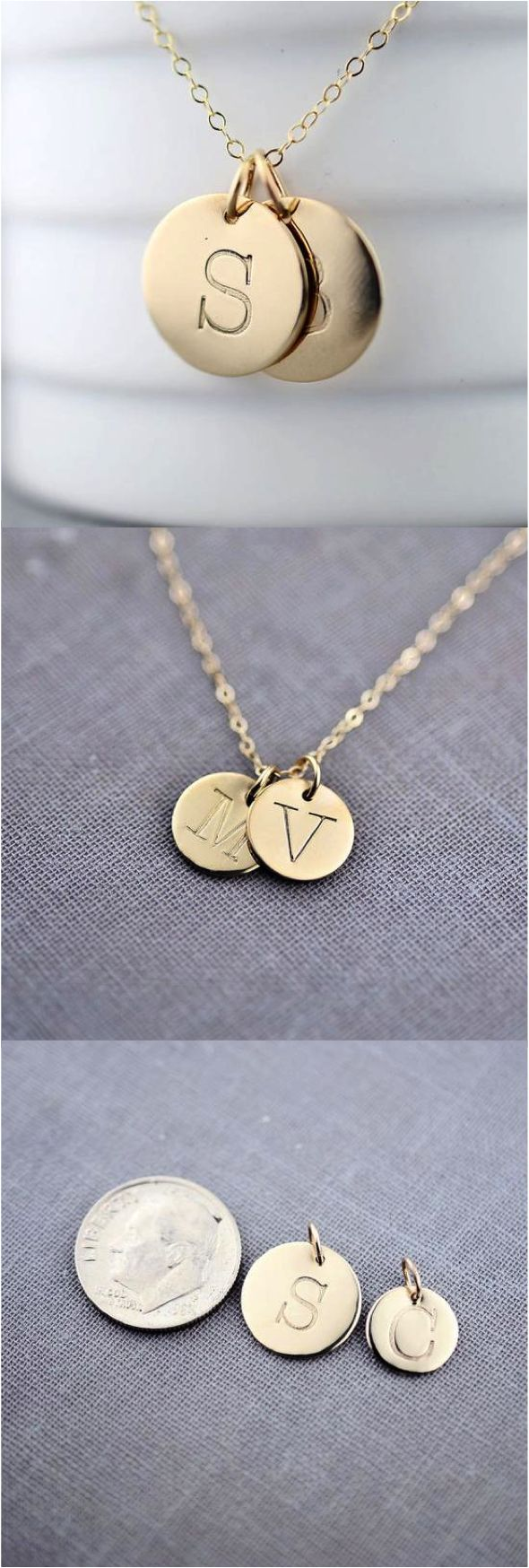 Personalized Twin Solid 14K Gold Initial Necklace by LilyEmmeJewelry. Wear your favorite letter on a recycled solid 14K gold pendant. You may choose any capital letter from typewriter font. Every pendant is hand-stamped and made-to-order | Hatch.co